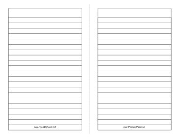 This foldable note paper gives you two half-sheet sized lined writing areas. Great for making booklets in school. Free to download and print