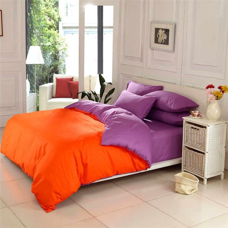 36 colors Simple Elegant 100% cotton solid color orange and purple bedding sets queen king size plain color bed linen sheet set-in Bedding Sets from Home & Garden on Aliexpress.com | Alibaba Group