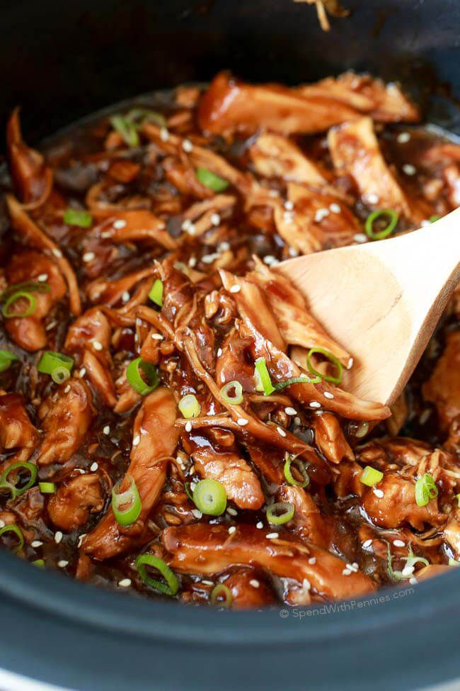 Sweet & Sticky Slow Cooker Honey Garlic Chicken is quick to prep and loaded…