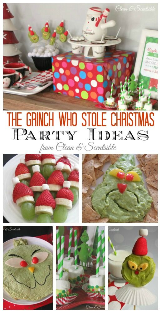 Lots of fun Grinch party ideas! Great for a night of watching the Grinch too!