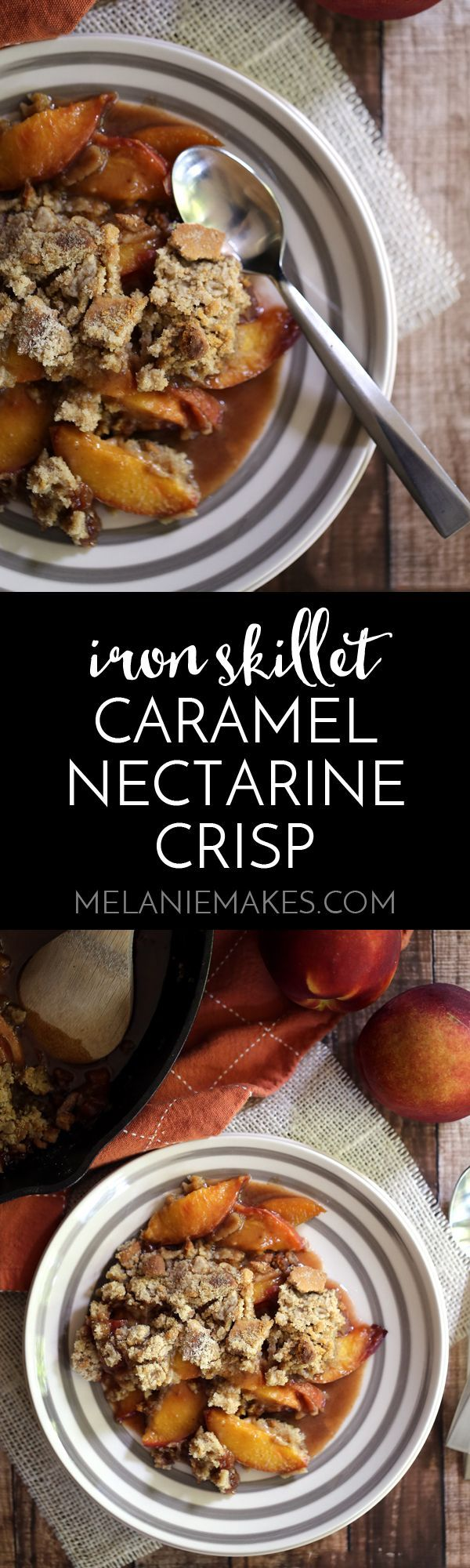 This Iron Skillet Caramel Nectarine Crisp is anything but ordinary, but so incredibly easy! Slices of fresh nectarines are tossed with allspice and caramel before being topped with a gingersnap cookie crumble. Topped with a scoop of ice cream, it's dessert perfection.