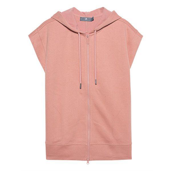 ADIDAS BY STELLA MCCARTNEY Sleeveless Zipper Nude // Short sleeved... ($120) ❤ liked on Polyvore featuring tops, hoodies, zip hooded sweatshirt, zipper hooded sweatshirt, sleeveless hoodie, short sleeve hooded sweatshirt and zip hoodie