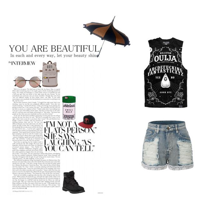 """""""Untitled"""" by isabelle071102 on Polyvore featuring LE3NO, Linda Farrow, Marvel Comics, Timberland, women's clothing, women, female, woman, misses and juniors"""