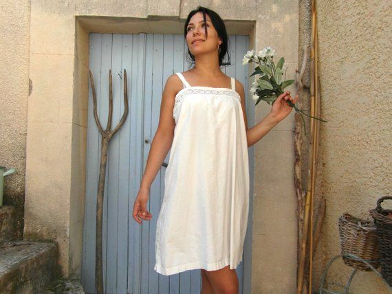 a8604c8ddf2 Antique white cotton and lace nightie