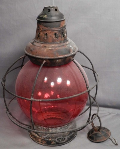 Antique Port Ships Lantern 8 Round Mold Blown Red Globe As Is Frame Lamp Light