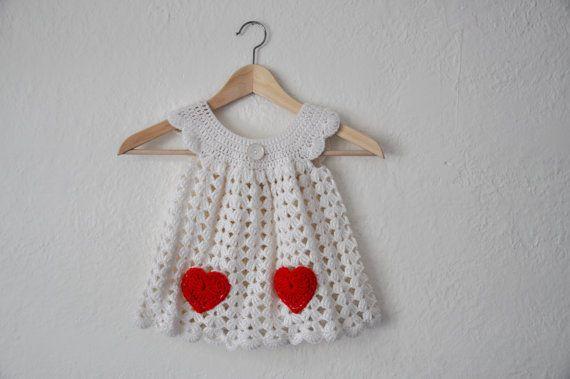 Little Sweetheart Crochet Baby Dress White by courtneyannabanana, $45.00