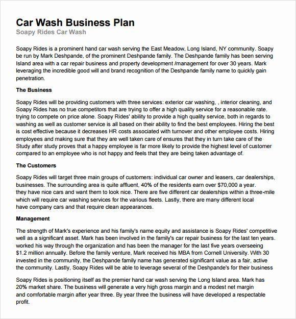40 Car Wash Business Plan Car Wash Business Business Plan Template
