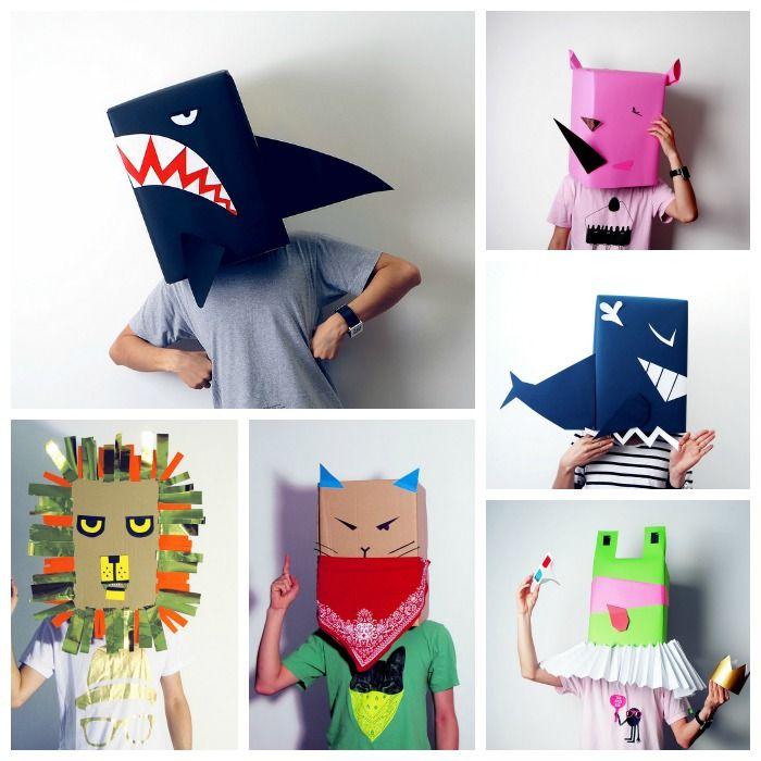 máscaras de animales de cartón reciclad, leones, ranas, gatos : via MIBLOG