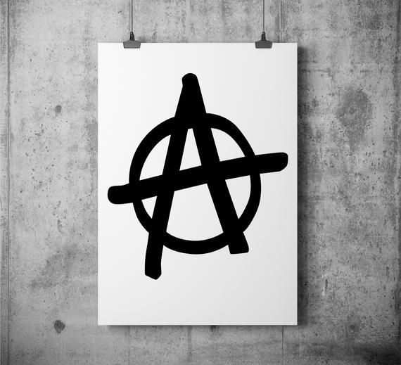 Anarchy Symbol Print Punk Anarchy Sign Monochrome Text Etsy Sign Printing Paper Frames Text Art