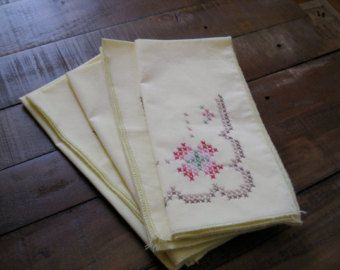Items similar to Handmade napkins ring set antique beige red Scandinavian Nordic and German cross stitch stars cotton fabric creative gift on Etsy