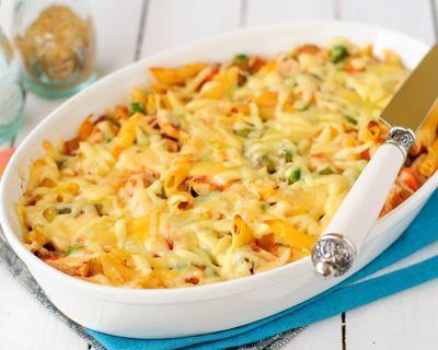 Gratin de macaroni à la courge et au jambon fumé