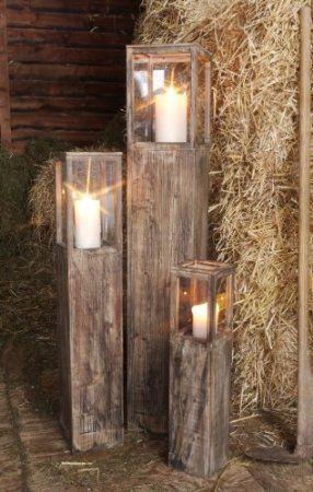 Windlichtset, Holzlaterne, Laterne 3-er Set