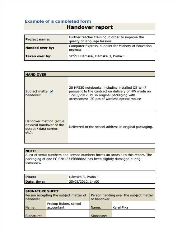 handover report template download documents pdf word