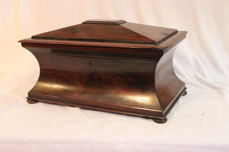 Lovely rosewood veneered sarcophagus shaped tea caddy with glass bowl and two tea containers. C1825. www.chinaroseantiques.com.au