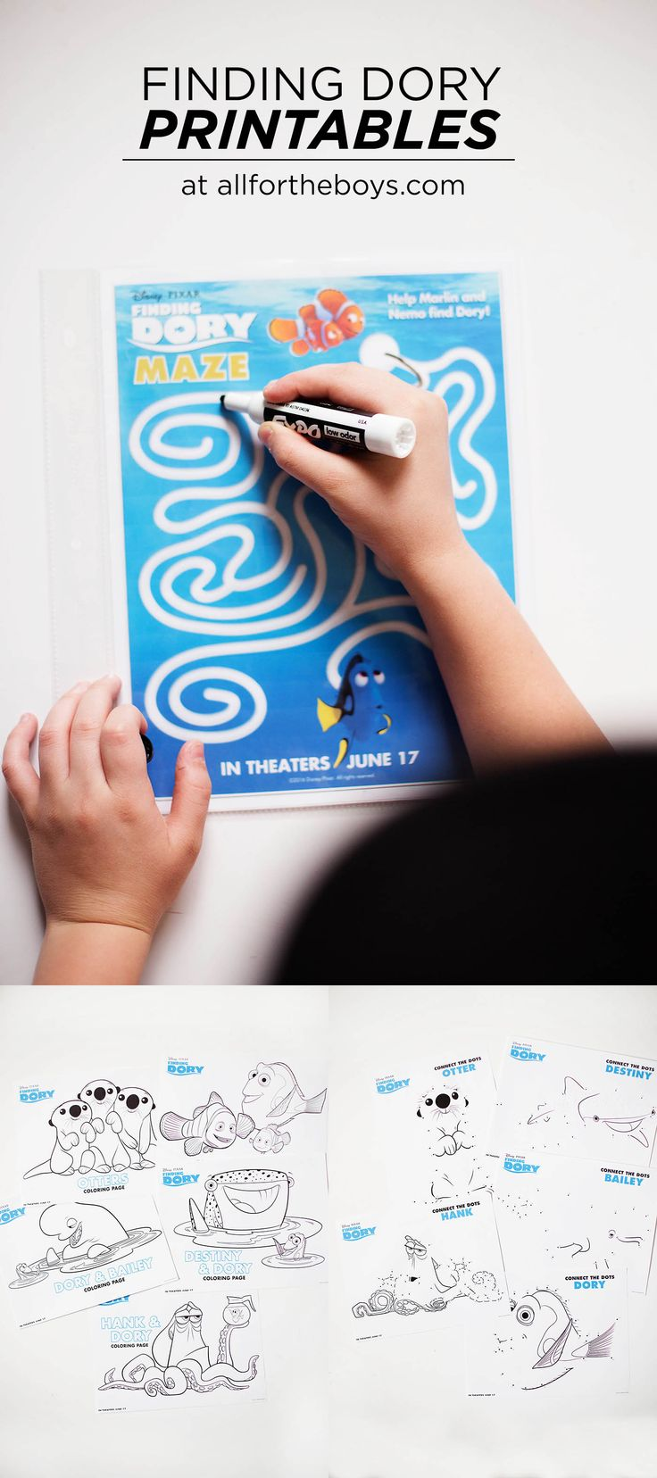 Finding Dory Printable Coloring Pages, Maze & Dot to Dots