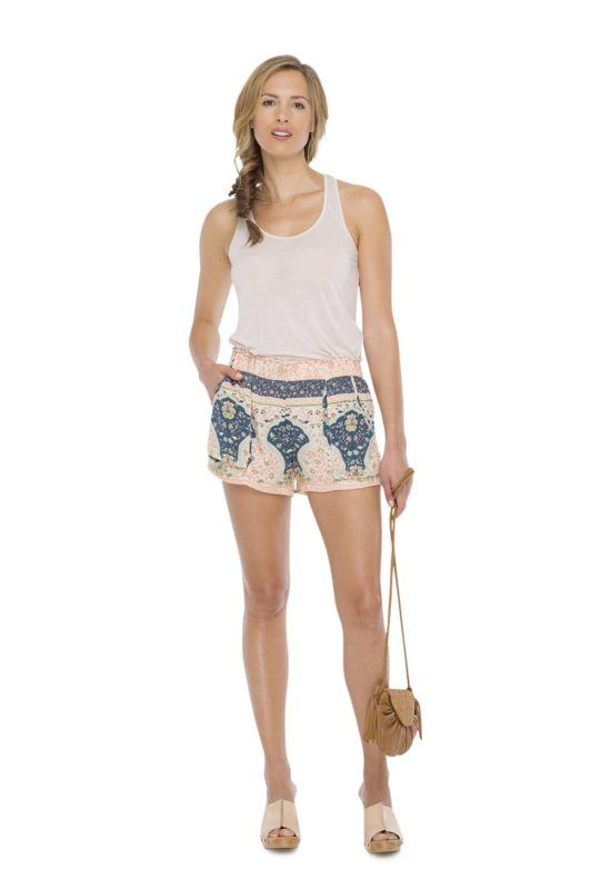 ORPHY SHORTS --   Short with slash pocket on each side and back. Vintage print made by hand.