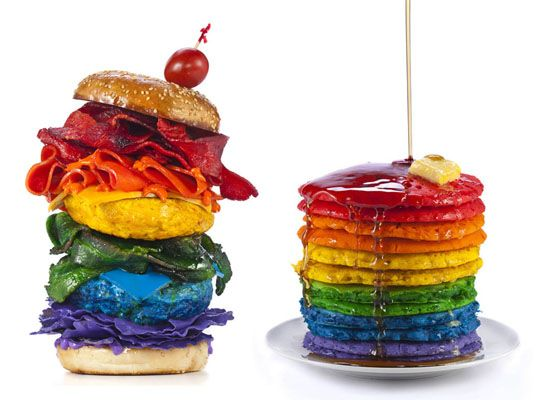 The pancakes I get; but rainbow burgers?!