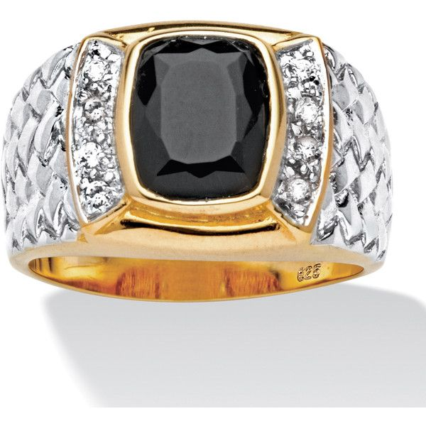 Palm Beach Jewelry PalmBeach Men's Cushion-Cut Onyx and Cubic Zirconia... ($51) ❤ liked on Polyvore featuring men's fashion, men's jewelry, men's rings, black, mens gold onyx ring, mens cubic zirconia rings, mens 18k gold rings, mens gold rings and mens onyx rings