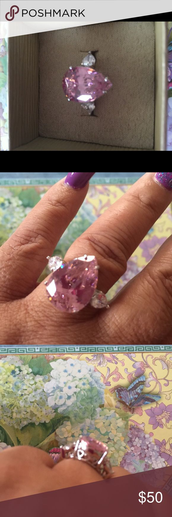 JTV Bella Luce ring Sterling silver pear shape pink Bella Luce with clear Bella on either side. Never used. Bella Luce Jewelry Rings