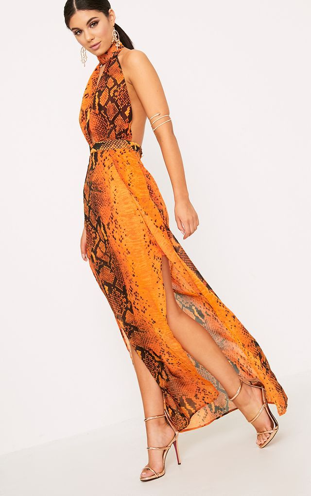 9922b3b7ee Leala Orange Snake Print Maxi Dress | All Dolled Up in 2019 ...