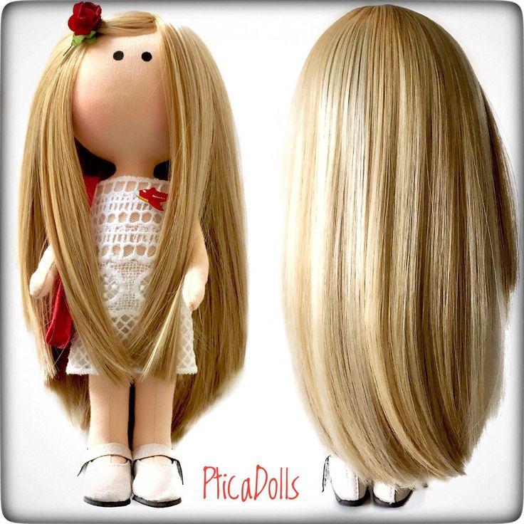 Beautiful portrait fabric doll by PticaDolls ❤️ Handmade soft textile dolls https://www.etsy.com/listing/535081787/blonde-beautiful-ooak-doll-mini-hermes