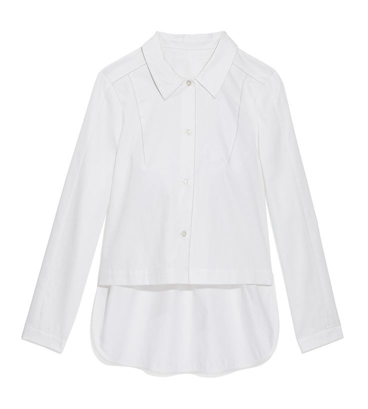 The latest way to wear a crisp white shirt? This modern button-down, with a longer shirttail that provides extra coverage in the back.