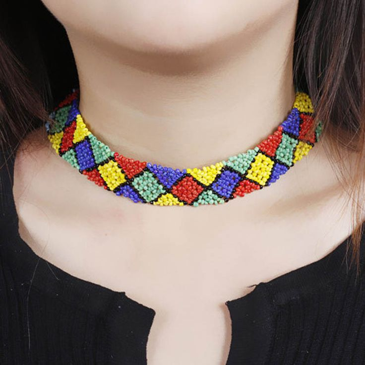 Fashion Women Bright Multicolor Square Choker Necklaces[US$3.43]shop at www.favorwe.com