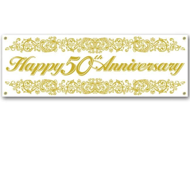 Happy 50th Anniversary Sign Banner Happy 50th Anniversary Anniversary Banner Anniversary Party Supplies