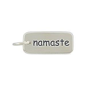 Rectangular NAMASTE Double Sided Engraved Charm or Pendant for Bracelets or Necklaces in Sterling Silver  #8360 http://shorl.com/bebrosteprodalo