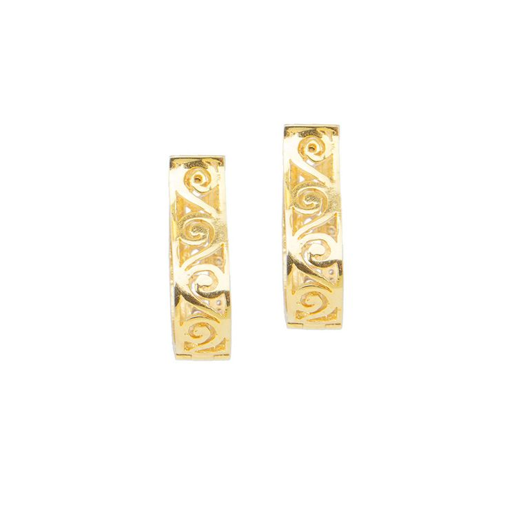Golden U-Shaped Earrings with Round Stones