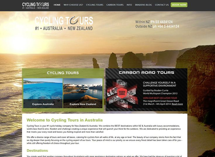 Cycling Tours Australia & New Zealand. A brochure website showcasing the range of tours provided. Includes blog, forms, responsive design.…