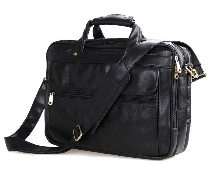 Nesitu Black Men Messenger Bag Real Skin Genuine Leather Briefcase Portfolio Mens Office Bags Business Travel Bag #M7146A