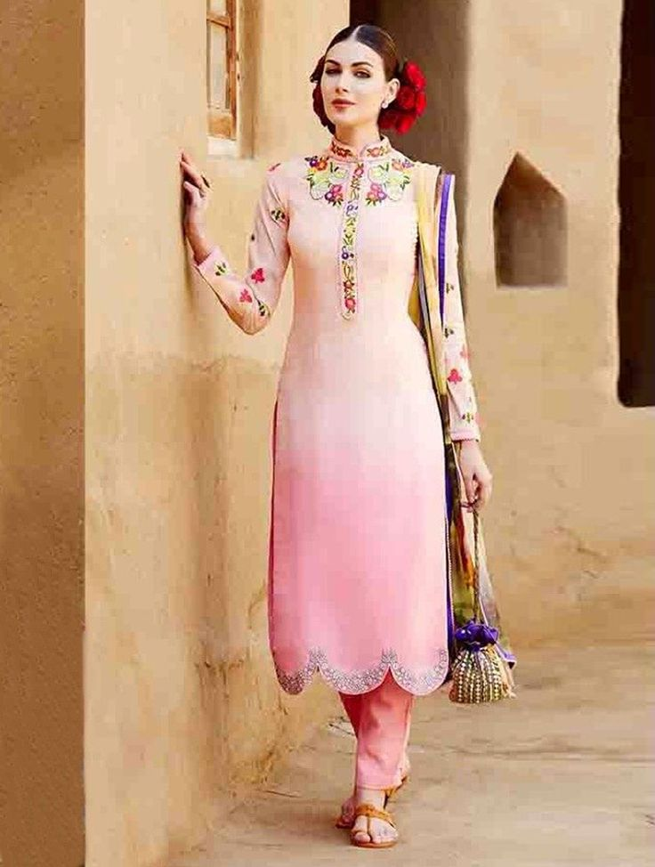 Make the heads turn when you dress up in this conspicuous cream and pink cotton and satin designer salwar suit. This attire is features beautiful lace border, resham embroidery, stone work and zari work. Discover more designs and style on #lookbuylike
