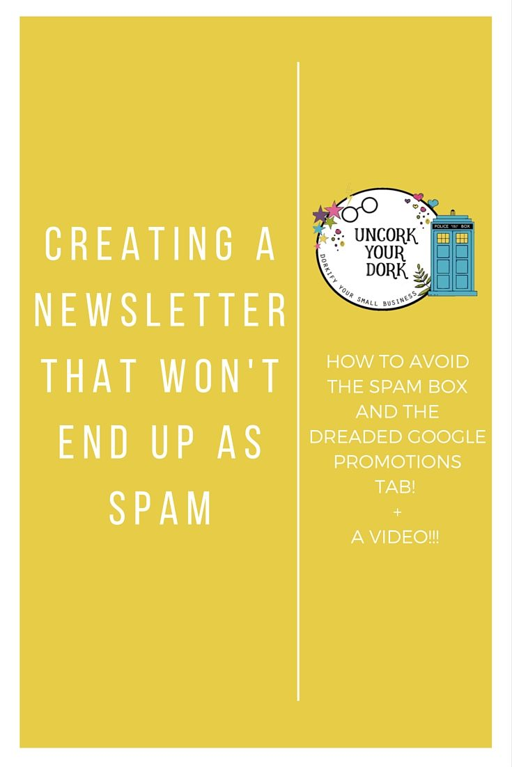 If your newsletter open rate is a little on the low side, check out this video which explains a few simple steps you can take to avoid the Google Promotions tab and the dreaded spam box!! Click the pin to watch the video!