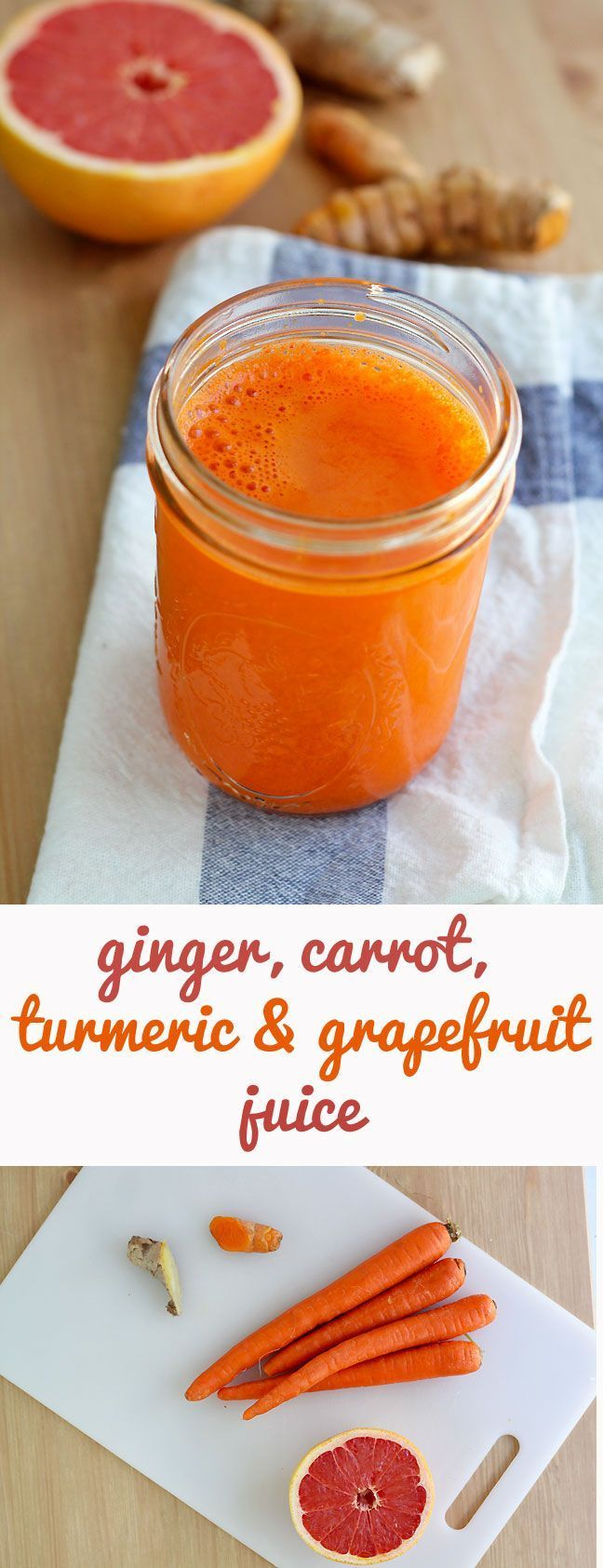 Ginger, Carrot, Turmeric and Grapefruit Juice Recipe - a great anti-inflammatory boost with Vitamin C and antioxidants. #juicing