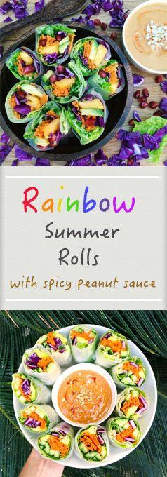 Rainbow Summer Rolls w/ spicy Peanut Sauce