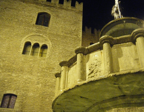 Medieval architectures in the town square of Fabriano - Marche - Italy