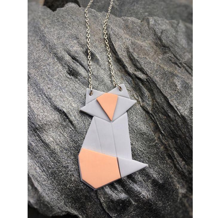 Origami fox necklace Origami kettu kaulakoru   made by CherryAnn Suomalaista käsityötä/ Made in Finland www.madebycherryann.com Instagram @madebycherryann Facebook Made by CherryAnn