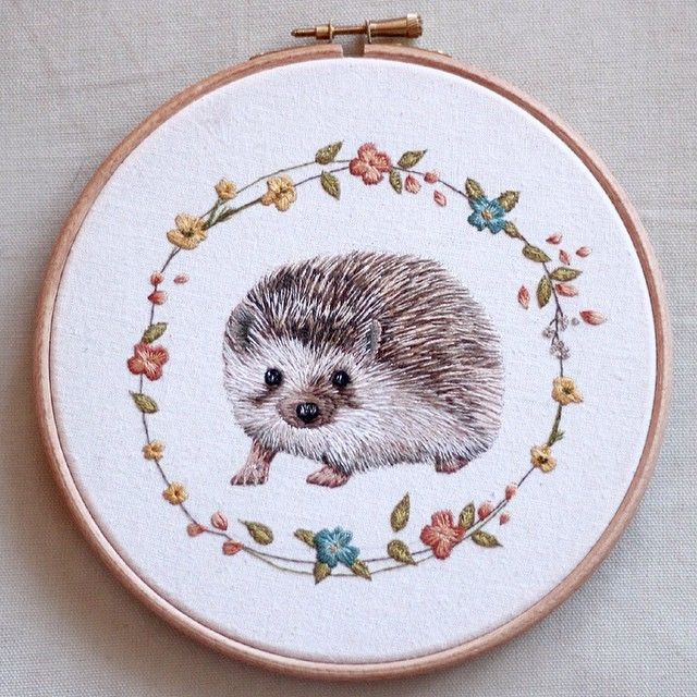 :: Crafty :: Stitch :: embroidery hedgehog by emillieferris
