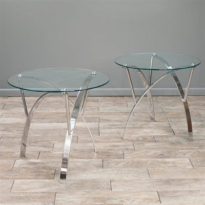 Best Selling Home Decor Marin Round Glass End Table (Set of 2)
