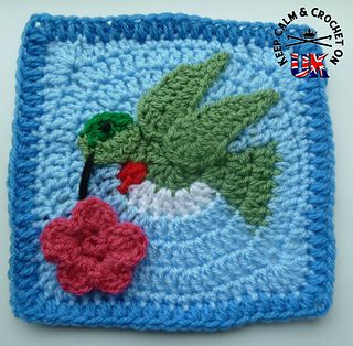 An eye-catching hummingbird designed afghan square that can also be adapted as a dove. A great square for nature lovers or as a symbol of peace; let it brighten your life with bright jewel tones or bring harmony to your space using soft pastels.