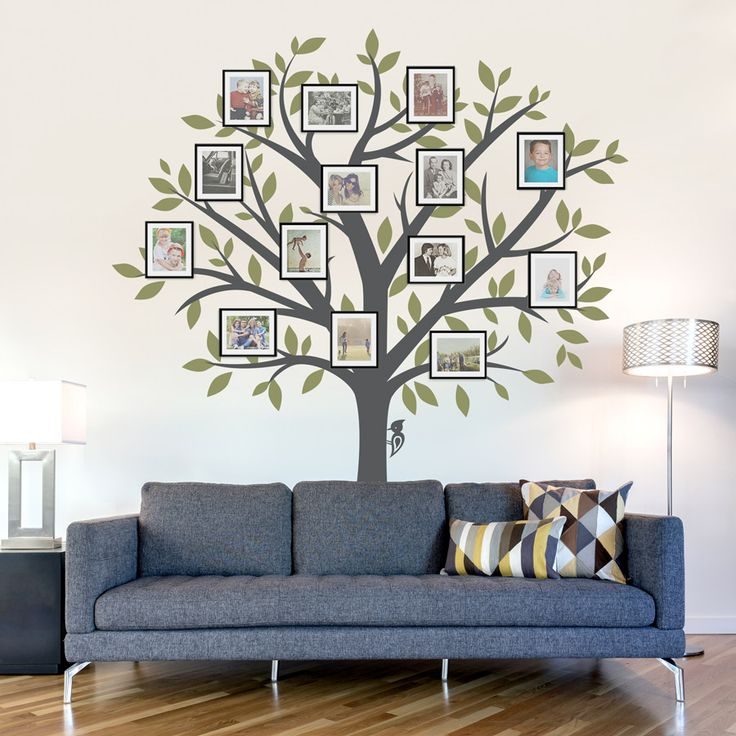 A great idea to add picture frames to a tree decal for a Family Tree effect!