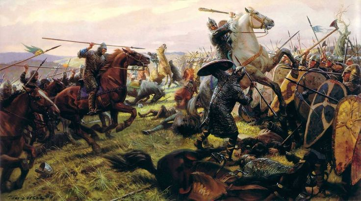 Norman knights charging the Saxon shieldwall at Hastings 1066 - art by Tom Lovell