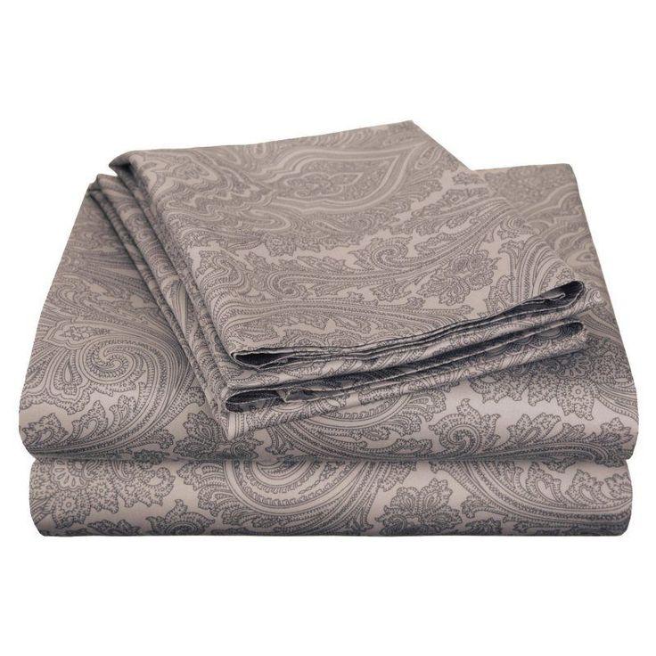 Superior Cotton Rich 600TC Italian Paisley Sheet Set Dark Grey - CR600QNSH IPDG