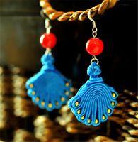 Trasporto libero orecchino delle donne 2016 nuovo DIY del tessuto blu di stoffa etnica belle gioielli accessori regali della ragazza orecchini di goccia BD055
