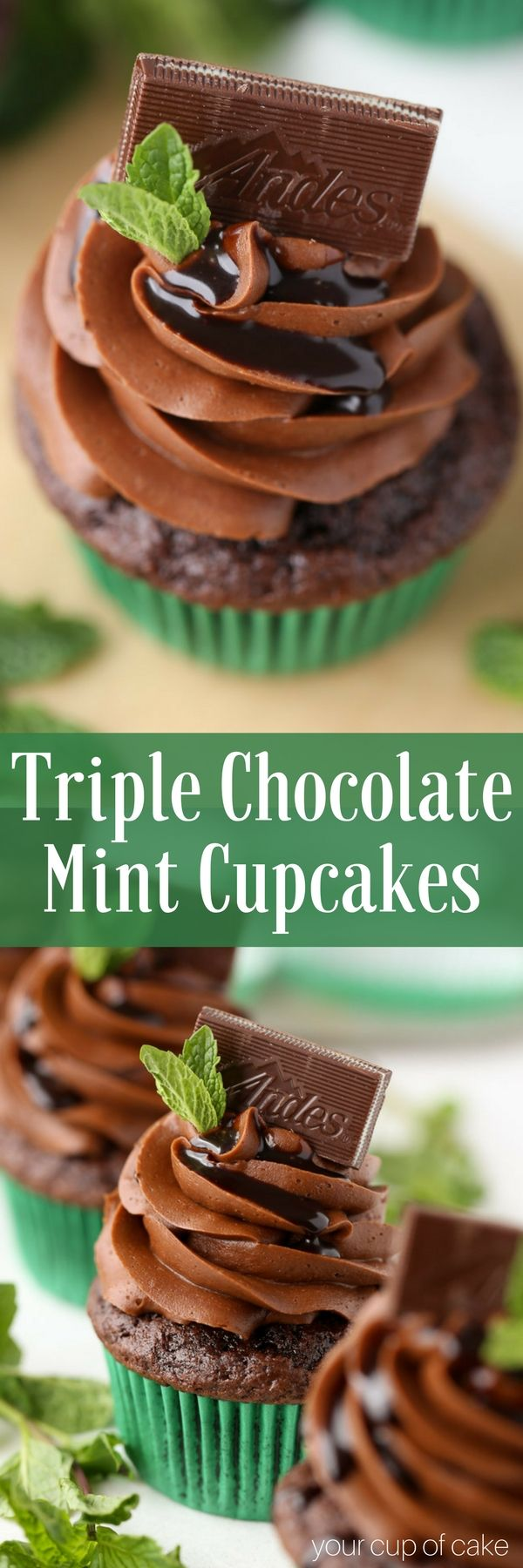 Triple Chocolate Mint Cupcakes with Andes Mints! Perfect St. Patrick's Day Cupcakes!