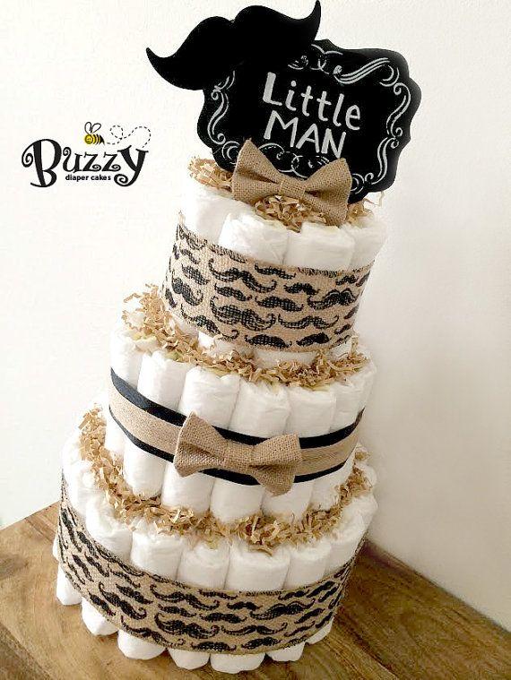 Little Man Mustache & Burlap Boy Baby Shower Diaper Cake Centerpiece with…