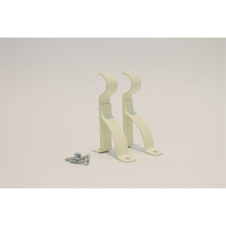 Smart Home Products 70 - 127mm Ivory Metal Double Curtain Rod Brackets - 2 Pack $5.82