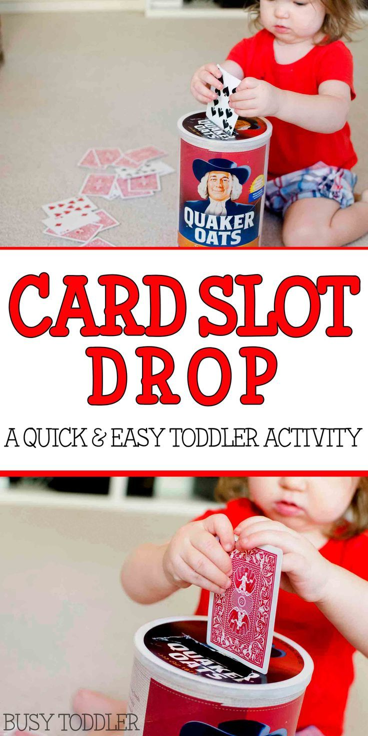 Card Slot Drop: a quick and easy toddler activity; toddlers will love this fun indoor activity; fine motor skills activity for toddlers