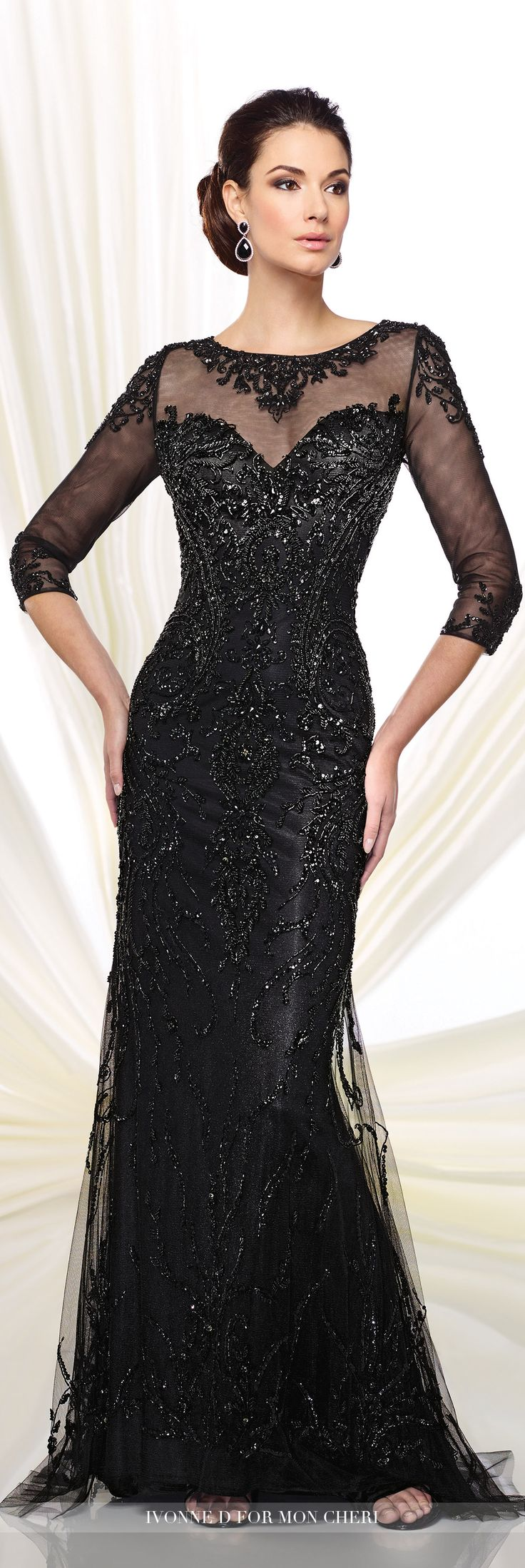 Formal Evening Gowns by Mon Cheri - Fall 2016 - Style No. 216D42 - black evening gown with illusion sleeves
